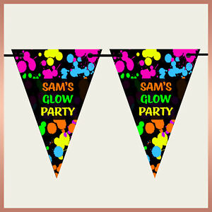 Personalised NEON or GLOW PARTY Wall BUNTING Banner Kids Boys Girls Birthday
