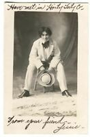 RPPC Postcard Actress? Woman Dressed Men's Suit