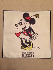 Disney Minnie Mouse Linen Effect Cushion Cover. Vintage Retro 45x45cm, Bedroom