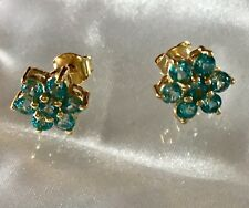 1.5 Ct, Paraiba, Blue Topaz Stud Earrings In 14K Gold Overlay Sterling Silver