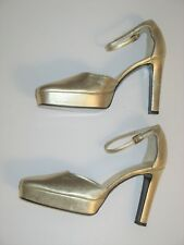 GUCCI SHOES PLATFORM HIGH HEEL ANKLE STRAP METALLIC GOLD 6 1/2B Vintage TOM FORD