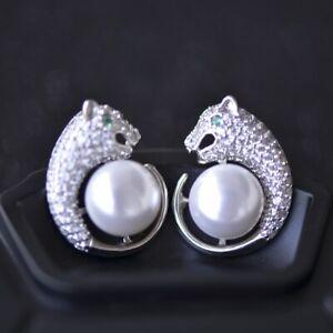 Panther Earrings for Women White Freshwater Pearl Stud Leopard Earrings silver