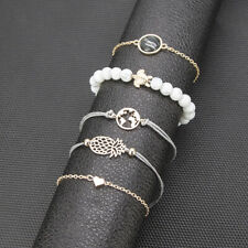 Adjustable Thin Hand Chain Bracelet Simple 2Pcs/Set Women Gold Lotus Love Design