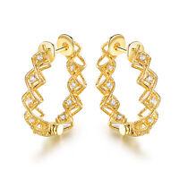 Sevil 18K Gold Plated Swarovski  Elements Filigree Huggie Hoop Earrings