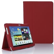 LEATHER Stand Case Cover per Samsung Galaxy Tab 2 10.1 pollici P5100 P5110-Rosso