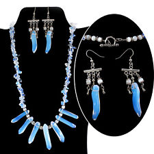 """This necklace, has 7 Opalite Beads. MEASURES 20"""". The earrings hang 2.5""""."""