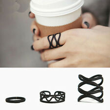 3PCS/Set Korean Matte Black Pattern Hollow Out Rings Opening Joint Ring Set