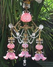Fenton Lamp Vintage brass Chandelier Cranberry Crystal beaded Victorian Era insp