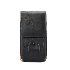 Luxury Leather Flip Belt Wallet Outdoor Pouch Card Cell Phone Case Cover Bag Black for Apple iPhone X (10)