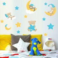 Sleeping Animal Moon Stars Bear Wall Sticker Decal For Baby Kids Nursery Decor