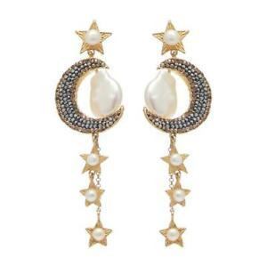 Soru atlas Earrings Crystal encrusted 18ct yellow gold plated silver crescent