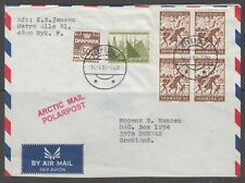 """Denmark 1985. Air mail cover to Greenland. Line marks """"Arctic Mail""""."""