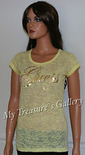 NEW Guess Logo Burnout T-shirt Tee Top Yellow Size M NWT