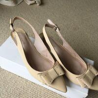 Jo Mercer Patent Leather Nude Kitten Heels - Size AU 7