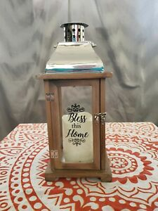 """""""Bless This Home"""" Lantern with Flameless LED Candle & Timer (14"""") Gift Decor"""