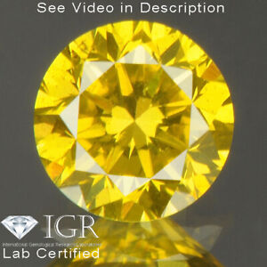 0.40 cts CERTIFIED Round Cut SI1 Vivid Golden Yellow Loose Natural Diamond 24829