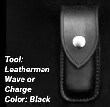 Custom Leather Case/Sheath For The Leatherman Wave/Charge New Closed Top Black