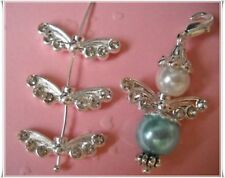 Metal bead 10 Angel Wing Angel Wings with rhinestones silver