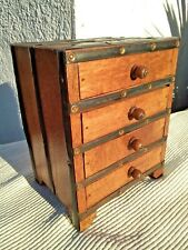 VINTAGE SOLID WOODEN TABLE TOP JEWELLERY TRINKET CHEST OF DRAWERS BOX