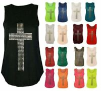 Women's Ladies Gothic Stud Cross Racer Back Sleeveless Stretch T Shirt Vest Top