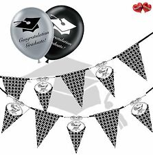 Bundle of Class of 2017 Bunting Banner 15 flags and 5 Graduation latex balloons