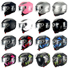1STORM MOTORCYCLE OPEN FACE HELMET 3/4 SCOOTER BIKE BOOSTER DOUBLE/DUAL LENS DOT