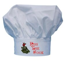 Kiss The Cook Mistletoe Chef Hat For Christmas Cooking Holiday Toque Hats