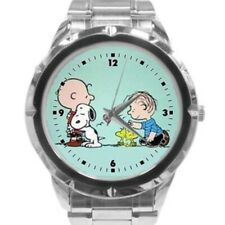 Snoopy and Woodstock Watch Light Green Face Women's Stainless Steel Band