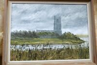 BLYTHBURGH  CHURCH SUFFOLK ORIGINAL OIL PAINTING SIGNED P. COX