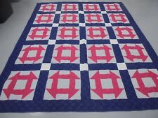 Nice Handmade Blue & Pink Monkey Wrench Quilt