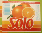 NORWAY SOFT DRINK CORDIAL LABEL, 1980s HANSA BRYGGERI BERGEN, SOLO ORANGE Sm 1