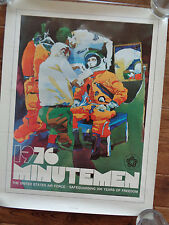 1976 MINUTEMEN SAFEGUARDING 200 YEARS OF FREEDOM COLORED POSTER AIR FORCE WELLER