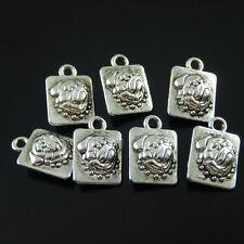 **10pcs Tibetan Silver Tone Dog Bulldog Pendant Charm Jewelry 12x10mm