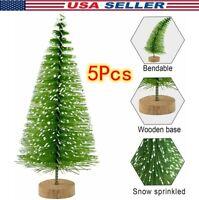 "5Pcs Artificial Christmas Trees 4.9"" Mini Pine Tree with Snow Wood Base Decor US"