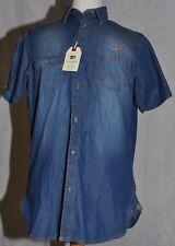 Milano Italy Jeanshemd Freizeit-Hemd kurzarm halbarm blau Denim-Shirt