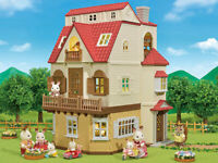 Sylvanian Families Red Roof Grand Mansion Grand Country House plus Cosy Cottage