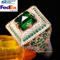 Turkish Handmade 925 Sterling Silver Green Emerald Stone Ladies Womans Ring Usa