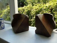art deco pair of good oak carved book ends bookends wood vintage