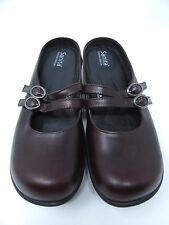 SANITA Women Brown Leather Med Heel Buckle 2 Strap Mary Jane Mule Shoes US 8.5
