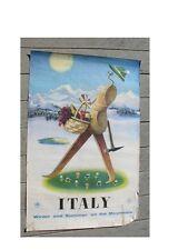Vtg. original 1950's Italy Travel Poster Delfo Previtali as is for restoration