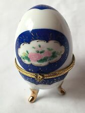 PORCELAIN FLOWERS EGG SHAPED FOOTED TRINKET BOX