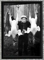 Odd & Weird... Boy with 2 Dead Turkeys... Vintage 5x7 Photo Print