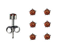 3prs Surgical Stainless Steel Ear Piercing November Prong RD3.0mm Stud Earrings