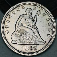1849 Seated Liberty Quarter 25C High Grade KEY DATE 90% Silver US Coin CC4673
