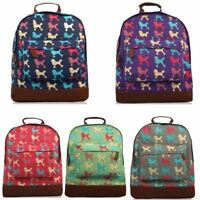 New Womens Poodle Print Rucksack Girls School Bag Women's Dog Print Backpack
