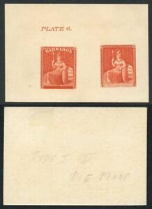 Barbados SG11 1858 6d reprinted die proof in deep orange on thick yellowish card