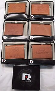 NFL Embossed Trifold Leather Wallet With Gift Box -Select- Team Below