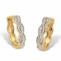 """14k Gold-Plated Diamond Accent Two-Tone Braided Huggie-Hoop Earrings 3/4"""""""