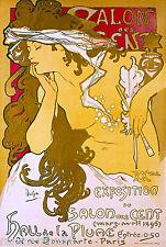 Salon des Cent Mucha French Nouveau France Vintage Advertisement Art Poster