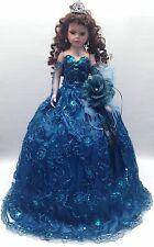 NEW Teal Blue 28 inch Mis 15 XV Anos Quinceanera Porcelain Umbrella Muñeca Doll